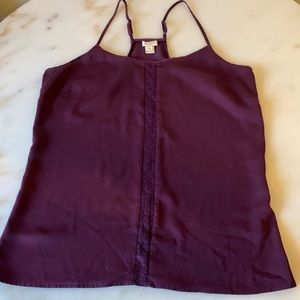 J Crew 8 Plum Tank with Lace Detail